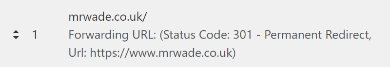 Cloudflare page rule setup: Redirect from mrwade.co.uk/ to https://www.mrwade.co.uk/