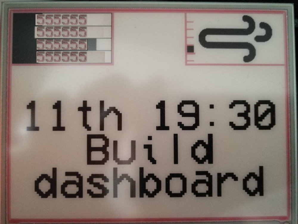 """""""Final output showing data usage, windy weather icon, and a calendar event for building the dashboard."""""""
